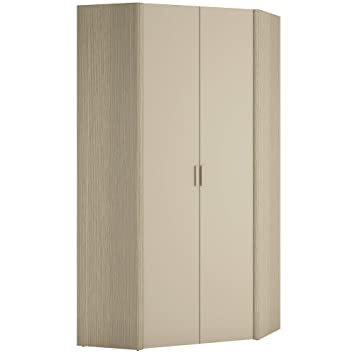 Furniture To Go Holiday Corner Wardrobe, 91 x 193 x 91 cm, Light Oak/Cream