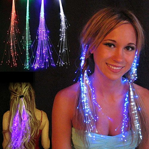 AYAMAYA 5 Pack LED Light-Up Hair Extension Optic Fiber Hair Barrettes Clip Braid for Party (Blue Fiber Optic Hair Lights compare prices)