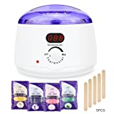 LENMO Wax Warmer Waxing Hair Removal Waxing Kit Electric Wax Pot Heater, Depilatory Machine with 4 Flavors Hard Wax Beans and Wax Applicator Sticks Home Rapid Painless Waxing Spa (Color: Purple)