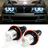 iJDMTOY (2) 7000K White High Power LED Angel Eyes Ring Marker Bulbs for BMW 5 6 7 Series X3 X5 (Fit E39 E53 E60 E63 E64 E65 E66 E83)
