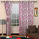 Ajay Furnishings 2 Piece Polyester Stripe Door Curtain - 7 ft, Purple