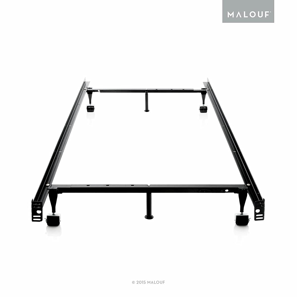 STRUCTURES by Malouf Heavy Duty Adjustable Metal Bed Frame with Center Support and Rug Rollers - (Queen, Full XL, Full, Twin XL, Twin)