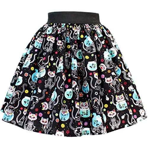 Day of the Dead Kitty Pleated Skirt
