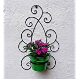 Green Gardenia Iron Wall Bracket With Bucket -Green