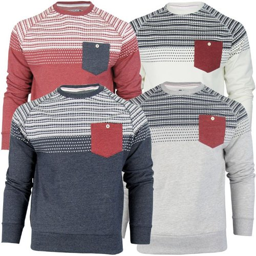 Mens Tokyo Tigers By Crosshatch Aztec/ Nordic Crew Neck Jumper/ Sweatshirt 'Torsby' - Claret [Small]