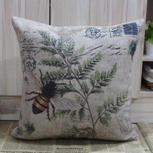 45*45Cm Retro Vintage Brown Paris Country Bee Leaf Linen Cushion Cover Postmark front-752416
