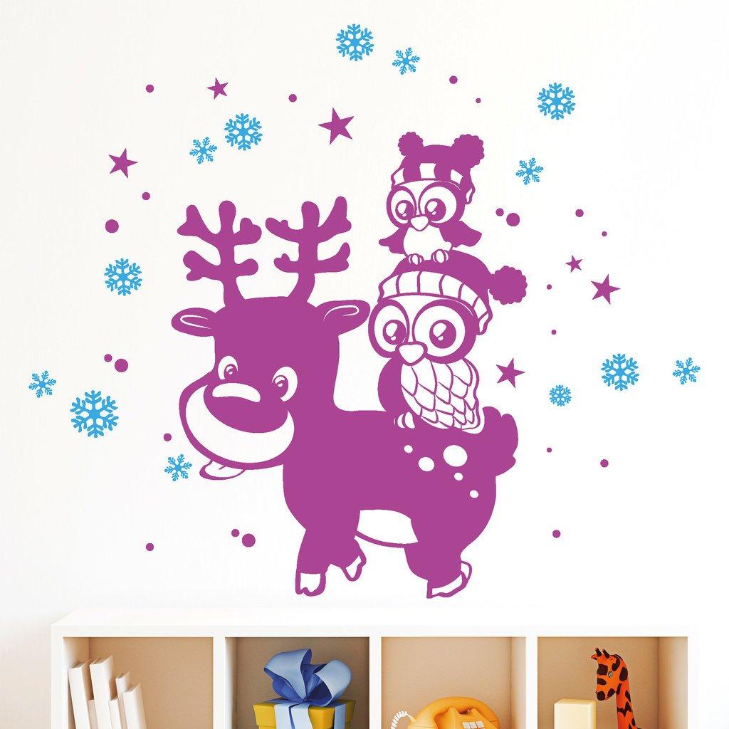 """Wandtattoo Loft """"Elch mit zwei niedlichen Eulen"""" (2farbig) / IHRE FARBWÜNSCHE TEILEN SIE UNS BITTE PER NACHRICHT ODER E-MAIL MIT!!! / 3 Größen / 54 Farben zur Auswahl / / 35 x 45 cm + Sterne und Schneeflocken günstig kaufen"""