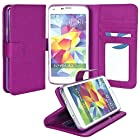 myLife Blooming Aconitum Purple - Classic Design - Koskin Faux Leather (Card, Cash and ID Holder + Magnetic Detachable Closing) Slim Wallet for NEW Galaxy S5 (5G) Smartphone by Samsung (External Rugged Synthetic Leather With Magnetic Clip + Internal Secure Snap In Hard Rubberized Bumper Holder)