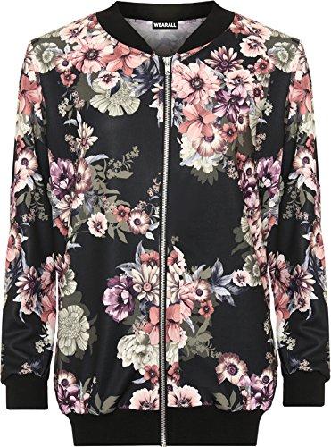 wearall-femmes-plus-floral-bombardier-veste-dames-imprimer-longueue-manche-fermeture-eclair-elastiqu