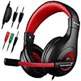 DLAND Gaming Headset, 3.5mm Wired Bass Stereo Noise Isolation Gaming Headphones for Online Gaming with Mic for Laptop Computer, Cellphone, PS4 and so on- Volume Control (Black and Red) (Color: Black)