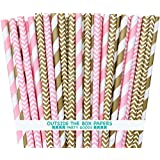 "Gold and Pink Stripe and Chevron Straw Combo-Birthday, Baby Shower Wedding Supply 100% Biodegradable 7.75"" Pack of 100"