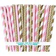 """Outside the Box Papers Gold and Pink Stripe and Chevron Paper Straw Combo-Birthday, Baby Shower Wedding Supply 100% Biodegradable 7.75"""" Pack of 100"""