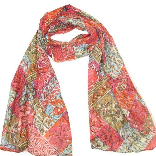 Orange & Light Red Block Print Women's Cotton Scarf - Colourful printed cotton scarf for ladies and girls - Short Mini Sarong
