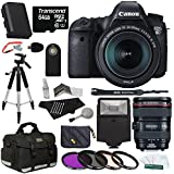 Canon EOS 6D Digital Camera Body with EF 24-105mm f/3.5-5.6 STM Lens + Transcend 64GB Micro SDXC Class 10 Memory Card + Deluxe Gadget Bag + 57-Inch Photo/Video Tripod + Replacement LP-E6 Battery Pack + Slave Flash + Polaroid Optics 77mm 3 Piece Filter Kit + Polaroid RC6 Wireless Remote + Extra Accessories SLR Camera Bundle