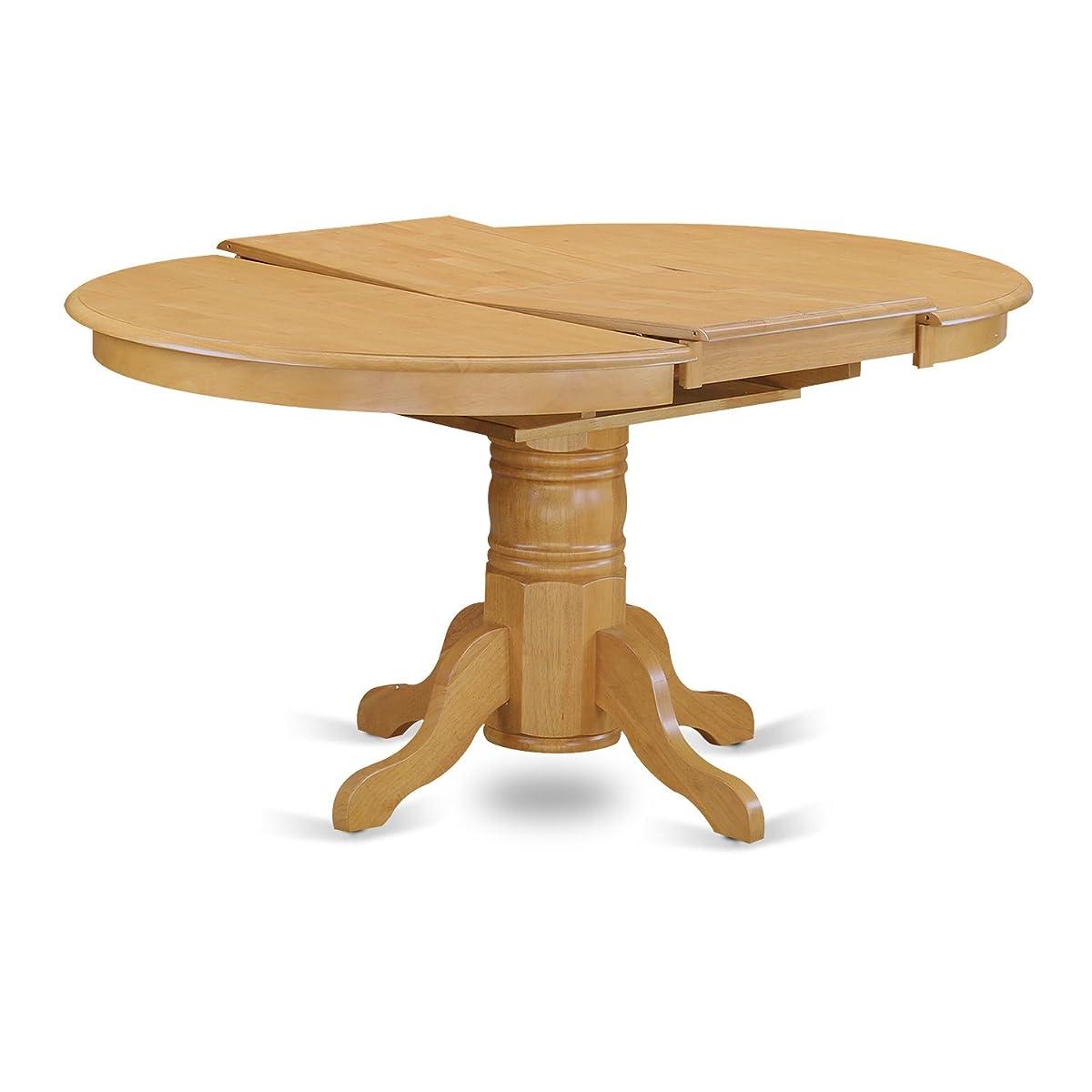 East West Furniture AVT-OAK-TP Single Pedestal Table, Oak Finish