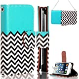 myLife (TM) Bright Blue and Chevron Design - Textured Koskin Faux Leather (Lanyard Strap + Card and ID Holder + Magnetic Detachable Closing) Slim Wallet for iPhone 4/4S (4G) 4th Generation Touch Phone (External Rugged Synthetic Leather With Magnetic Clip + Internal Secure Snap In Hard Rubberized Bumper Holder)
