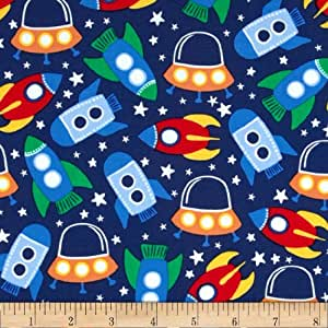 Michael miller retro space station primary for Space baby fabric