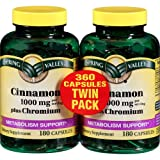 Spring Valley - Cinnamon 1000 mg Plus Chromium, Twin Pack, 2 Bottles of 180 Capsules