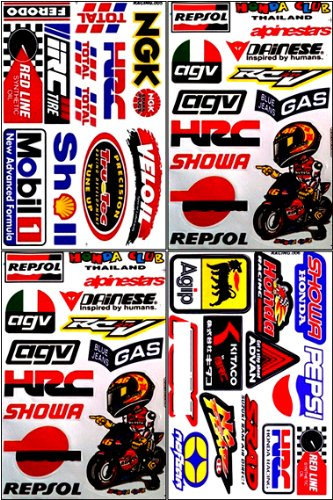 Repsol HRC Honda Motorcycles Dirt Bike ATV Helmet Racing Decal Sticker Sheet #HRC-401 (Honda Hrc compare prices)