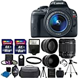 Canon EOS Rebel SL1 18.0 MP CMOS Digital SLR Full HD 1080 Video Body with EF-S 18-55mm IS STM Lens With 58mm 2x Professional Lens +High Definition 58mm Wide Angle Lens + Auto Flash + Uv Filter Kit with 24GB Complete Deluxe Accessory Bundle