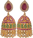 Violet & Purple Gold Plated Jhumki Earrings For Women (1000029589)