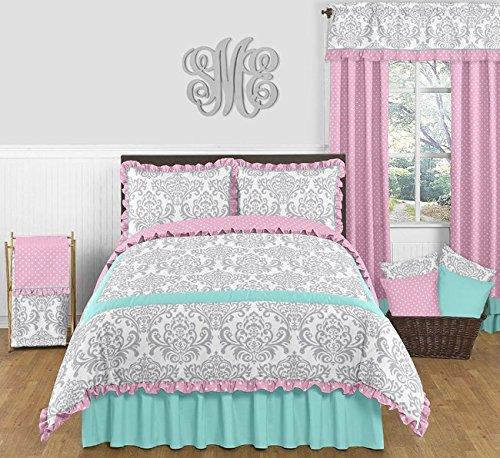 Sweet-Jojo-Designs-Skylar-Turquoise-Blue-Pink-Polka-Dot-and-Gray-Damask-3-Piece-Girls-Full-Queen-Bedding-Set