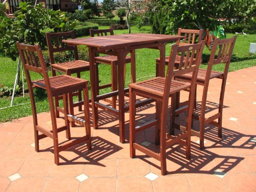 Patio Sets Clearance: 7pc Outdoor Extendable Wood Patio