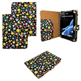 """iZKA® - Universal Premium Leather Folio Flip Stand Case Cover Protection Skin Wallet Stand For 7"""" 7 inch Android Tablet PC, ASUS GOOGLE Nexus 7, 2.2 EASY TAB, MID, Apad, Epad, 7 inch Amazon kindle fire, Blackberry playerbook, Huawei Mediapad, T-Mobile SpringBoard 7"""", Kobo Vox, Kobo Arc ,Samsung Galaxy Tab SCH-i800, 7"""" Inch Samsung Galaxy Tab P1000 P6200 P3100 P3113 P3110, 7"""" Archos Arnova 7F G3 ,Asus Google Nexus 7"""" ,7"""" CAPACITIVE MULTI TOUCH ANDROID 4.0 Tablet PC ,Acer Iconia A100 7"""" Universal (Black Floral Daisy)"""