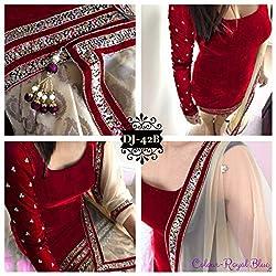 fabgruh Red Colour Patiyala Suit
