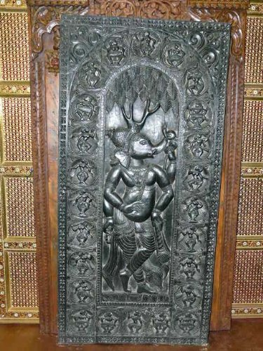 Antique Carved Panel Hindu God Ganesha Hand Carved Wood Wall Panel Door Shutters 72""