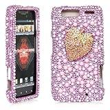 Droid Razr Maxx Case, iSee Case (TM) Bling Bling Rhinestone Crystal Full Cover Case for Motorola Droid Razr /Droid RAZR Maxx XT912 (XT913-3D Pink Strawberry)