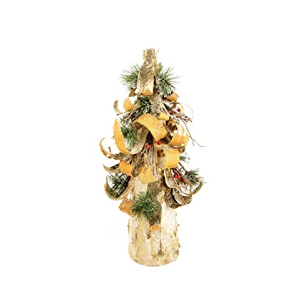 19-inch Rustic Birch Bark Inspired Flocked Table Top Pinecone Christmas Tree with Pine and Berries by Vickerman