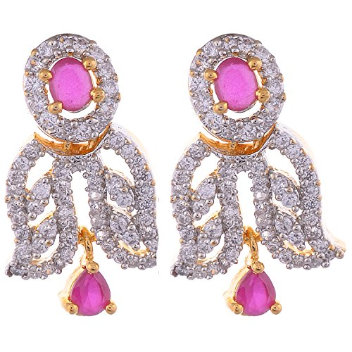 Aditri Aditri Gold-Plated Clip-On Earings For Women - Red(Sd Dc T2008) (Yellow)
