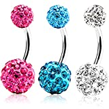 ZHIHU Belly Ring 316L Steel Lot of 3 Pieces 14G Bling Disco Ball Multi Crystal Belly Button Ring