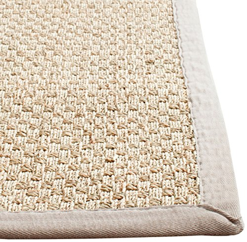 Safavieh Natural Fiber Collection NF114P Natural and Grey Seagrass Square Area Rug, 8 feet Square (8' Square)