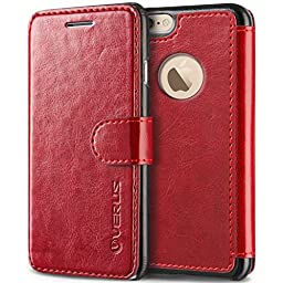 Verus Layered Dandy Premium Leather Wallet Slim Fit Case for Apple iPhone 6 6S Plus 5.5 - Wine Red