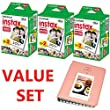 Fujifilm INSTAX Mini Instant Film 60 Sheets (3x Twin Pack = 60 Sheets) With Photo Album 64 Pockets For Fuji Mini 8 7s 25 50s 90 SP-1 Printer Value Set Bundle