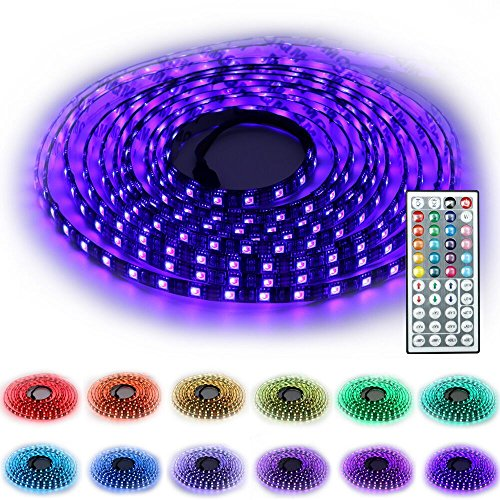 SINOU 5-Meter Waterproof Flexible Color Changing RGB SMD 5050 300 LEDs Light Strip Kit with 44 Keys IR Remote Controller,Control Box for Home Decorative