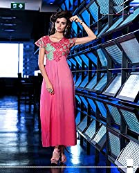 New Arrival Pink Georgette Embroidery Work Long Kurti & Dress Semi-Stitched By Regalia Fashion