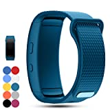 Feskio Samsung Gear Fit 2 Pro/Fit 2 SM-R360 Replacement Watch Band Strap Accessory Soft Silicone Wristband Strap Sport Band Bracelet for Samsung Gear Fit 2 Pro/SM-R360 Smartwatch (Color: Cyan, Tamaño: Small)