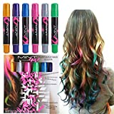 Hair Chalk - Metallic Glitter Temporary Hair Color - Edge Chalkers - No Mess - Built in Sealant - Works on All Hair Colors - Color Essentials Set (6 Count) By SySrion®