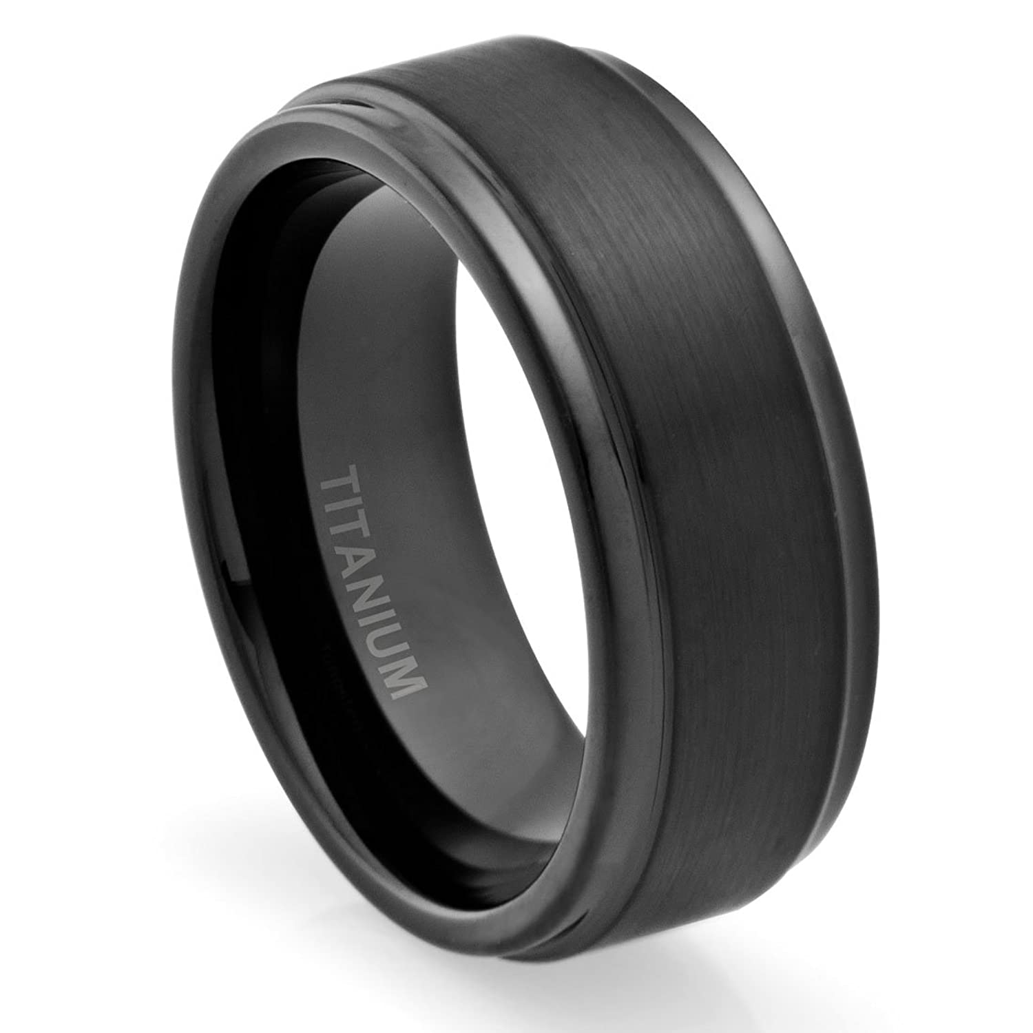 polished titanium wedding rings mens titanium wedding band Polished titanium wedding rings