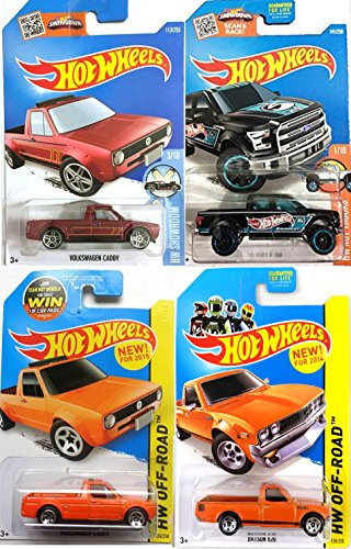 Ford F-150 Hot Wheels Pickup Truck Set Volkswagen Caddy & Datsun 620 Off-Road + Hot Trucks in PROTECTIVE CASES (2015 Hot Wheels Datsun compare prices)