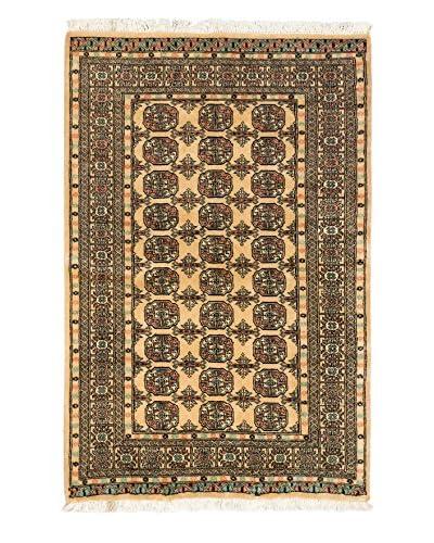 "Hand-Knotted Peshawar Bokhara Wool Rug, Light Gold, 4' 1"" x 6' 3"""