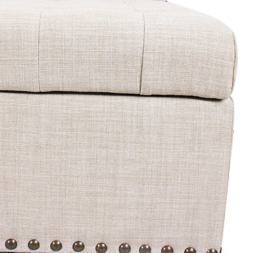 Asense Fabric Rectangle Tufted Lift Top Storage Ottoman Bench, Footstool with Solid Wood Legs, Nailhead Trim (Beige) (NEW PROMOTION ENDING SOON!!)