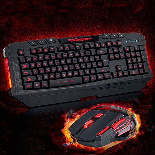Pc Gaming Optical Usb Wired Red Led Illuminated Backlit Mouse And Red/Blue/Purple Backlit Switchable Keyboard Combo