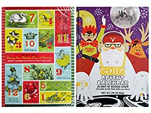 Trader Joes 2016 Milk Chocolate Christmas Advent Calendar (Pack of 2 Assorted Designs)