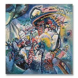 Wassily Kandinsky Moscow Red Square 1916 Original Abstract Oil Painting Reproduction Hand painted on Rolled Canvas for Living Room Wall Decor - 48X48 inch
