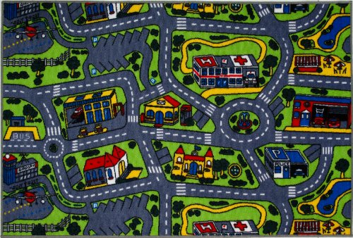 Roule Fun Time Collection Driving Time 5X8 Ft Kids Area Rugs
