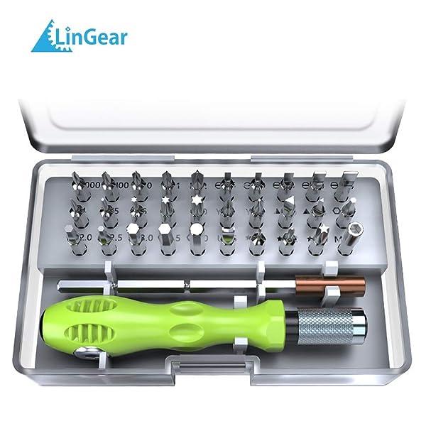 LinGear Precision Screwdriver Set, 32 in 1 Mini Screwdriver Bit Set Repair Tool Kit for PC, Laptop, Tablet, PDA, Mobile Phone, Glasses, Watch, Cameras
